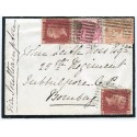 1874 cover with 2x1d, 3d +4d issues addressed to India from Ellon, Aberdeenshire.
