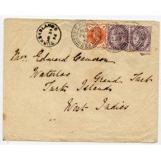 1896 cover with ½d vermilion + 2x1d lilacs addressed to Turks Island from Speanbridge.