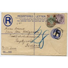 """1896 2d """"Registered"""" envelope with 1d + 4d issues from Oyne to Reykjavik, Iceland."""