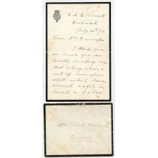1898 Privately carried letter from H.R.H. Prince George from Kirkwall, Orkney Islands.