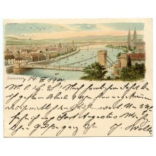 "1900 ""Court Card"" with illustration of Inverness, Scotland, addressed to London."