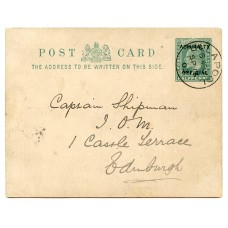 """1902 ½d Postal stationery card """"Admiralty Official"""" from Ullapool addressed to Edinburgh"""