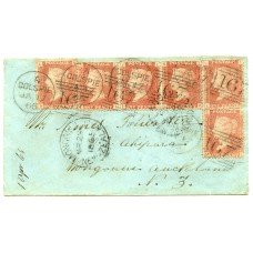 1865 cover with six 1d rose-red pl 89 issues from Golspie, Scotland, addressed to New Zealand.