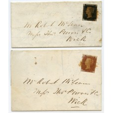 1841 covers with 1d black pl 5 and 1d red-brown pl 8 from Watten, Caithness, Scotland.