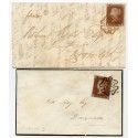 1842 covers with 1d red-brown issues from Invergordon with red-brown and black MCs