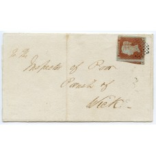 "1849 cover with 1d red-brown pl 86 from Invergordon with ""lozenge of dots"" cancellation.."