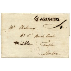 "Sussex 1787 cover to London with superb ""65 ARUNDEL"" postmark"