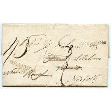 "Sussex 1805 cover to London with very fine ""Brighton/59"" postmark"