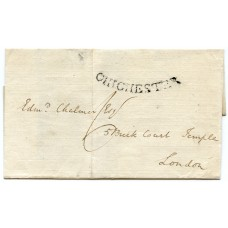 "Sussex 1797 cover to London with superb concave ""CHICHESTER"" postmark"
