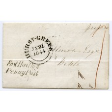 """Sussex 1844 cover to Battle with """"EAST HOATHLY PENNY POST"""" postmark"""