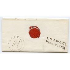 """Sussex 1838 cover to Brighton with  """"CRAWLEY PENNY POST"""" postmark"""