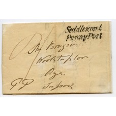 """Sussex 1844 cover to  Rye with very fine """"SEDDLESCOMB/PENNY POST"""" postmark"""