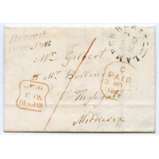 "Sussex 1842 cover to London with very fine ""BURWASH PENNY POST"" postmark"