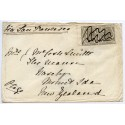 1876 cover Scotland to New Zealand with pair 6d grey cancelled ink m/s