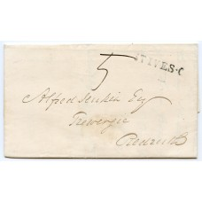 "Cornwall 1839  cover superb strike of the ""St Ives-C""  handstamp to Redruth"