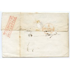 "1843 cover to London from Cuba rated m/s ""8""  + red ""Falmouth/Ship Letter"" handstamp"