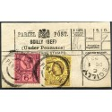 Cornwall Scilly Islands - RARE 1892 Parcel Post label 3d + 6d Jubilee. SCILLY cds