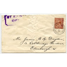 "St Kilda RARE 1931 ""Mail Boat"" cover to Edinburgh with Steamer Co. label"