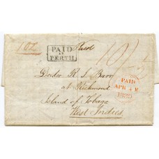"1839 SCARCE entire ""PAID AT PERTH"" h/s sent to TOBAGO, West Indies."
