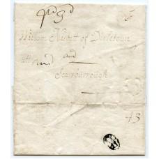 "Rare 1710 Edinburgh Bishop Mark cover ""Pd 3d"" to Scarborough"