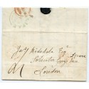 RARE 1839 FIRST DAY of Uniform 4d Postage Rate cover Halifax to London
