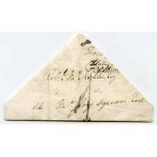 "1837 TRIANGULAR cover from Richmond, Surrey, to Dublin with ""1"" charge h/s"