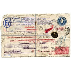 1914 2d registered stationery cover British Expeditionary Force Notabile -UK