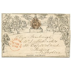 1840 1d Mulready lettersheet to Reading -distinctive Salisbury fluid purple-brown Maltese X