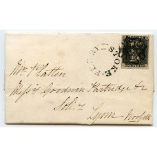 1840 cover to Lynn, Norfolk, with1d grey-black  pl. 1b, distinctive Maltese cross of Stoke Ferry