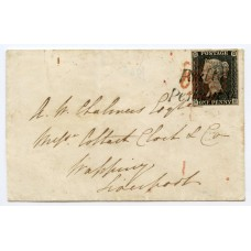 """1840 cover 1d grey-black pl. 2  BE to Liverpool with""""Poulton / Penny Post"""" h/s +Preston MX"""