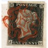 1840 1d black pl.2 cover to Brigg from Caister with DOUBLE-LINED red Maltese Cross