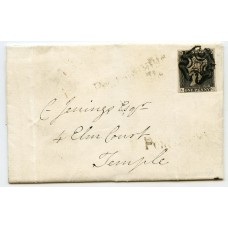 1840 cover to London with 1d greyish black pl.3 lettered LC  with experimental black Maltese X