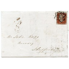 1841 1d red-brown pl 34 GE on cover to Sheffield being tied by superb London No 6 in Maltese X