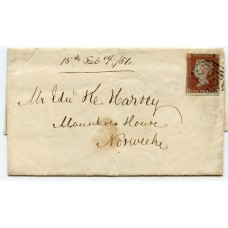 """SUPERB 1851 Valentine lettersheet sent within Norwich with 1841 1d tied """"575"""""""