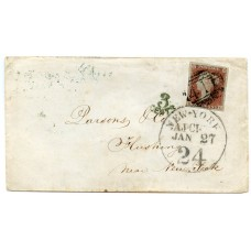 """1854 cover 1841 1d red-brown Kendal to USA via Liverpool with """"411"""" numeral + New York ds"""