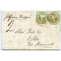 """Lovely 1850 cover Liverpool to NEW BRUNSWICK pair 1s embossed RED """"466"""""""