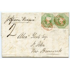 "Lovely 1850 cover Liverpool to NEW BRUNSWICK pair 1s embossed RED ""466"""