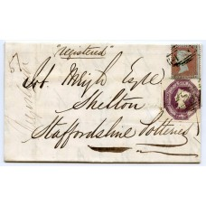 """1855 registered cover to Shelton 1d red-brown issue + 6d purple embossed  tied by Liverpool """"466"""""""