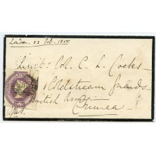 "Rare 1856 cover to CRIMEA with 6d embossed tied by London ""26"" Numeral"