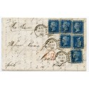 "RARE 1858 cover with 6 x  2d blue pl. 7  - 1/- rate to Italy tied by the Manchester ""498"" ""spoon"""