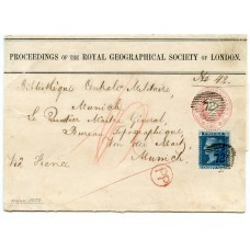 1859 1d pink Royal Geographical Soc. p/s wrapper to Munich + addit. 2d blue plate 7