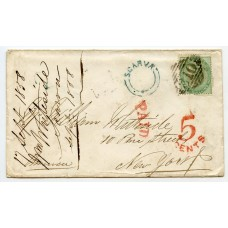 Ireland RARE 1858 cover to U.S.A. with SCARVA udc and  1856 1s green