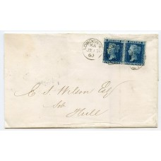 1860 cover to Hull with pair 2d blue pl 8 neatly tied by a London duplex for JY 17 60