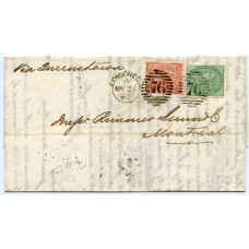 1862 Cunard Line cover London to Montreal, Canada, with 1/- and 4d tied duplex