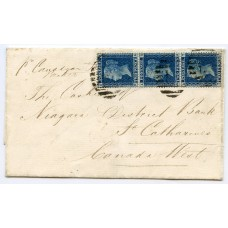 1862 cover London to CANADA with vert. strip 3 x 2d pl.9 carried Allan line SS Jura