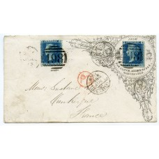Superb 1863 Advertising envelope with 2 x 2d Pl.9 Manchester to France
