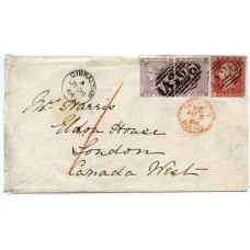 """Scarce 1864 cover GIBRALTAR to Canada with GB 1d, pair 6d tied """"A26"""""""