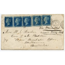 Scarce 1865 cover Cambridge to Australia with 5 x 2d pl.9 tied duplex cancel