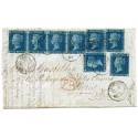 RARE 1861 cover with 8 x 1858 2d blue plate 9 paying the 1/4d rate to Paris from London