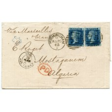 Scarce 1865  wrapper with 2 x 1858 2d blue plate 9 issue paying the 4d rate to Algeria